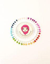 40 Coloured Hijab Pins Wheel