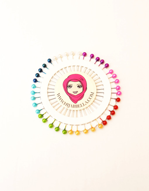 40 Coloured Hijab Pins Wheel