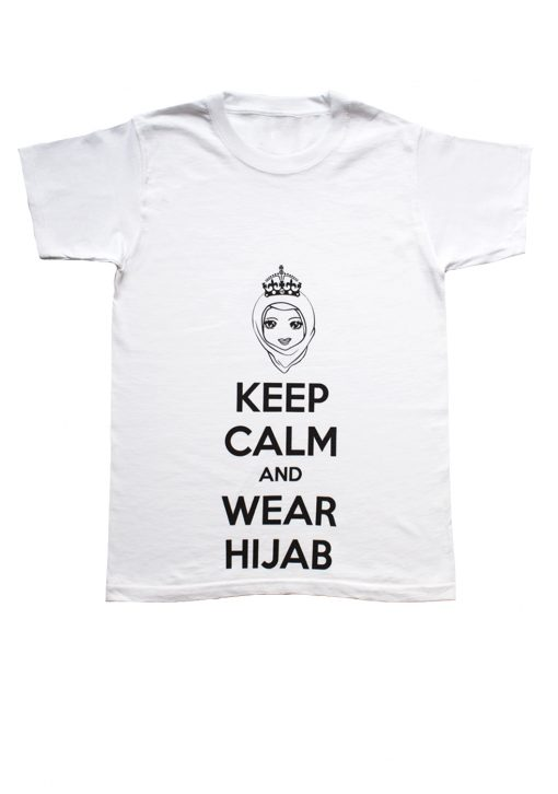 White Keep calm and wear hijab printed t shirt