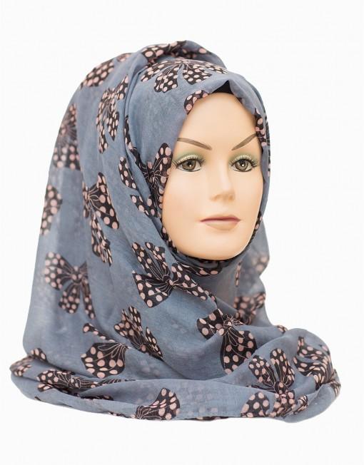 bow printed maxi hijab