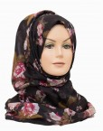black floral maxi printed hijab