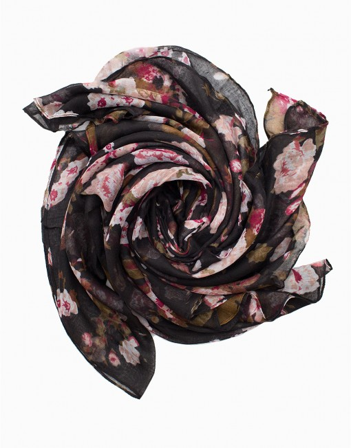 black and baby pink floral printed maxi hijab