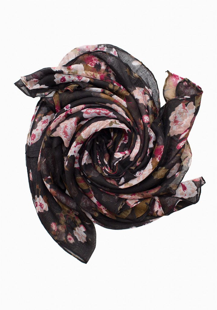 black and baby pink floral printed maxi hijab