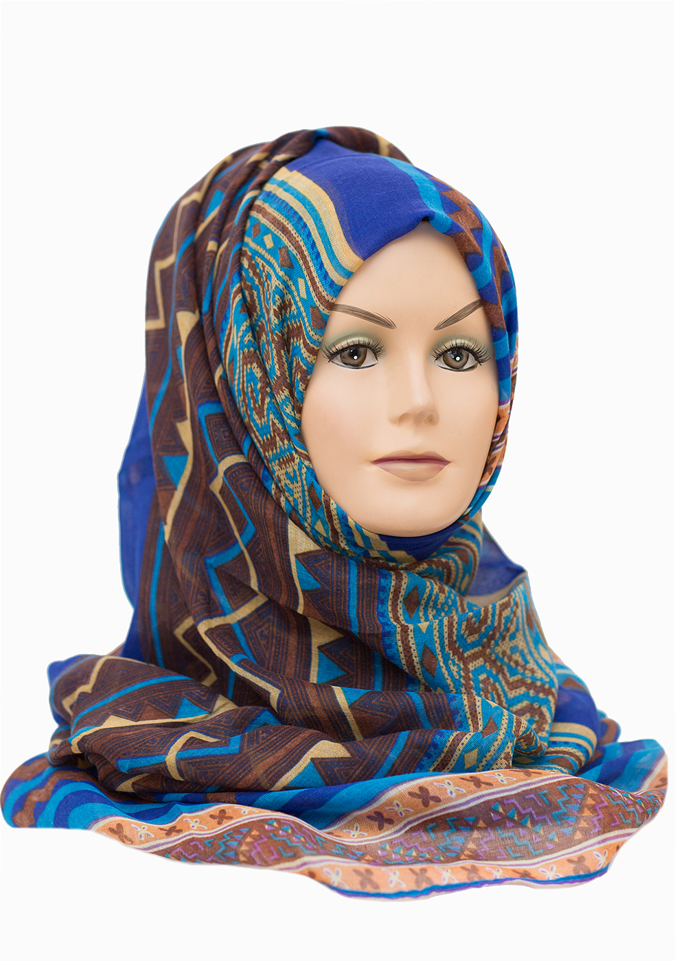 royal blur aztec printed maxi hijab