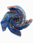 aztec printed maxi hijab in blue and brown