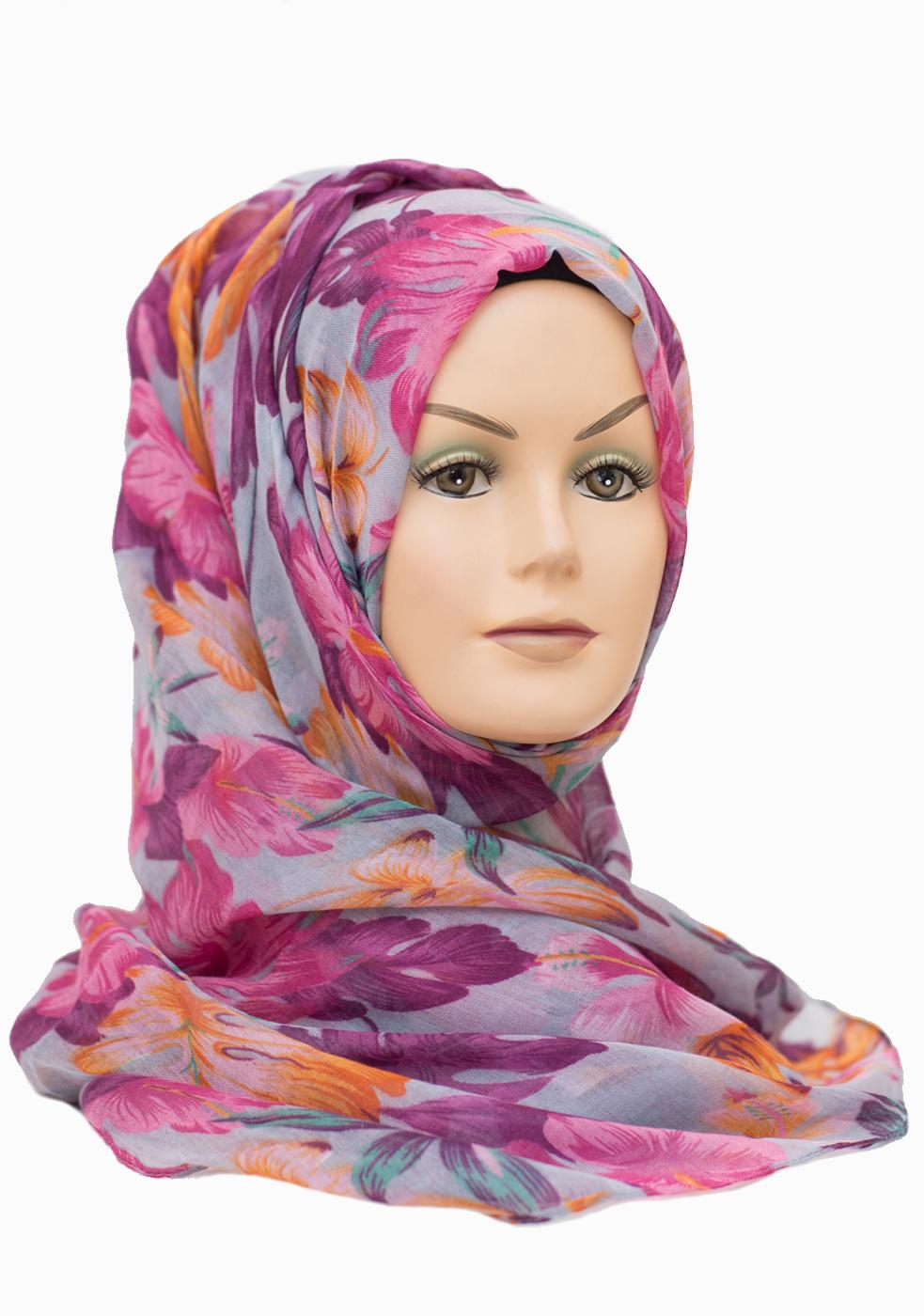lilac purple floral maxi hijab