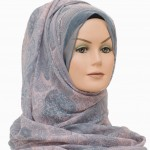 beautiful paisley printed hijab in pink and grey