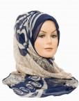 blue and cream printed maxi hijab