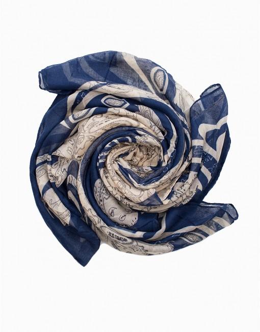 blue with cream hijab