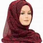 red and black printed maxi hijab