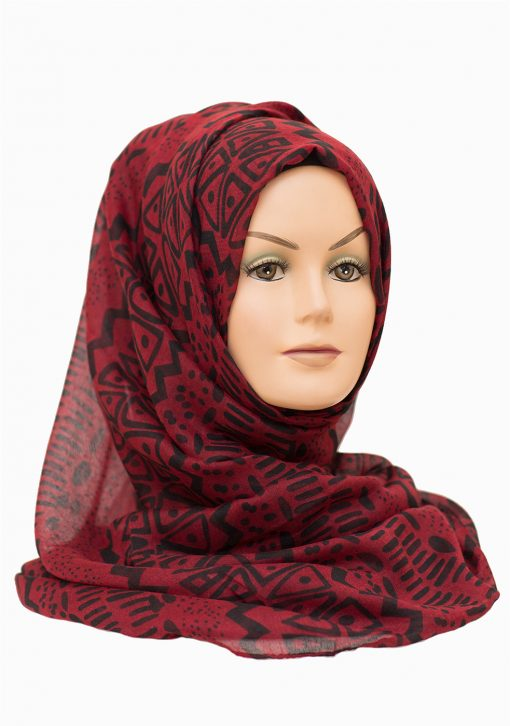 red and black printed maxi hijab