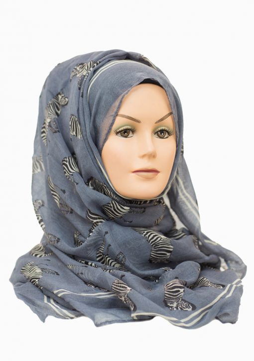 zebra printed maxi denim blue hijab