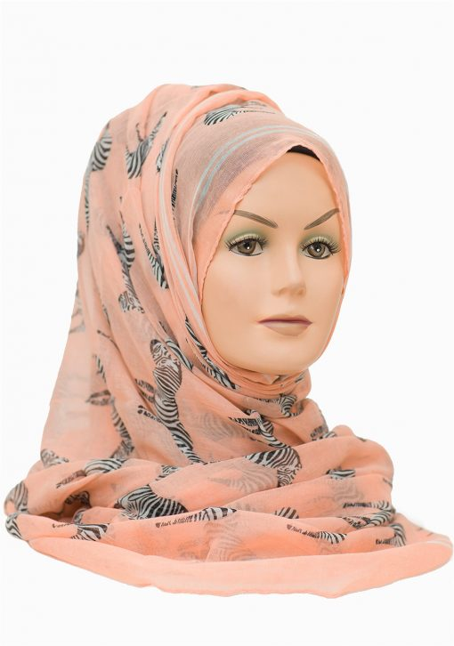 soft pink and zebra printed maxi hijab