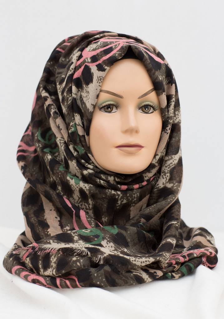 Pink and Green leopard print hijab