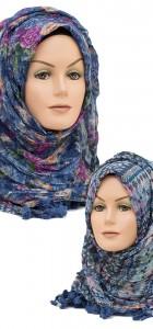 blue reversible crinkle hijab