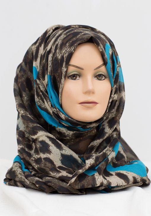 blue hearts leopard print hijab
