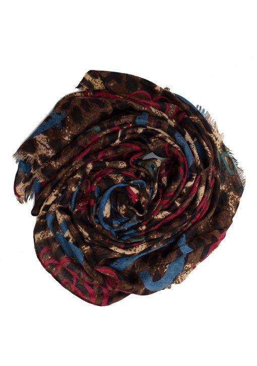 blue and red leopard print hijab