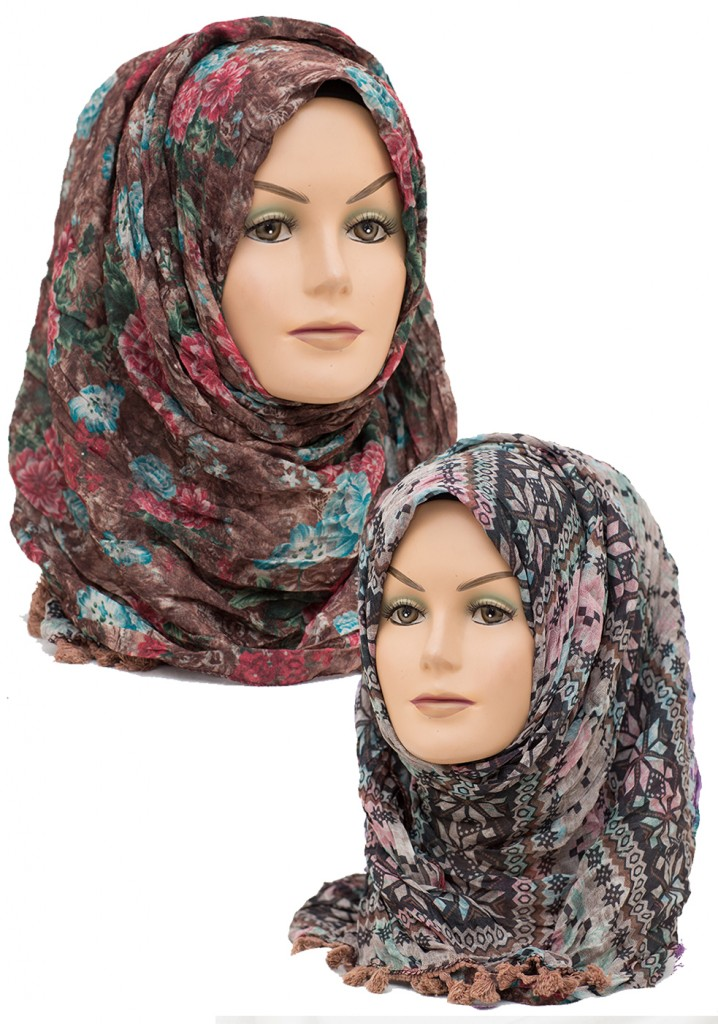 brown reversible crinkle hijab