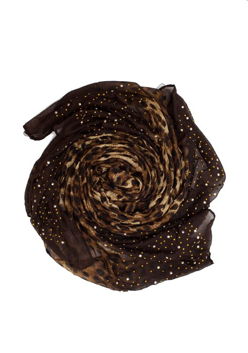 brown leopard print sequence hijab