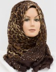 brown sequence leopard hijab