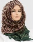 green ombre leopard print hijab