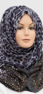 grey sequence leopard hijab