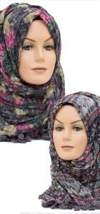 black and pink printed hijab