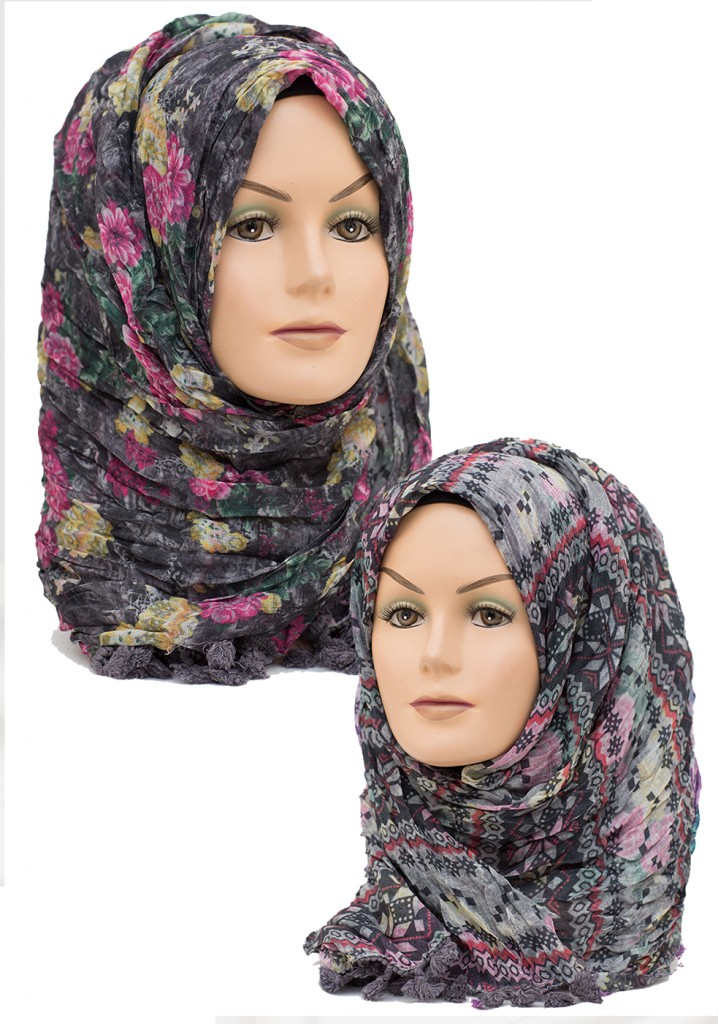 black and pink printed hijab