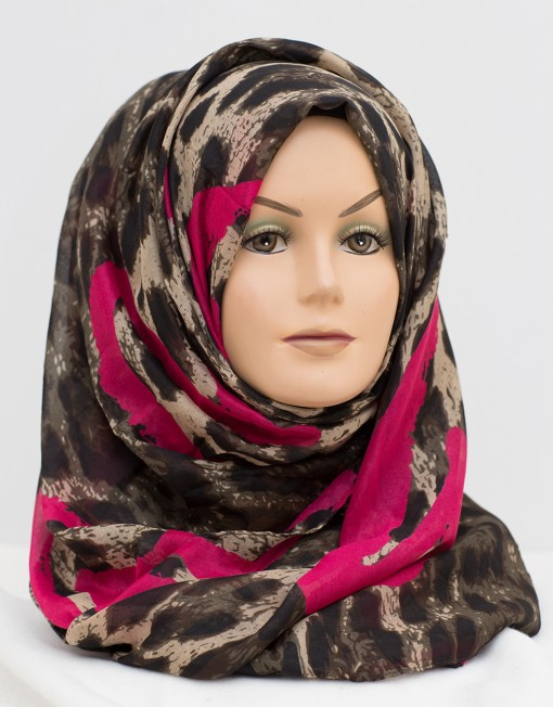 hot pink hearts and leopard print hijab