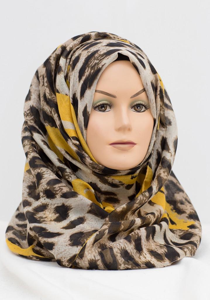 yellow hearts leopard print hijab