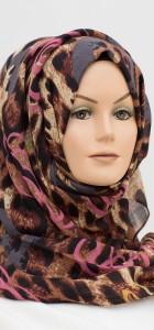 pink and grey leopard print hijab