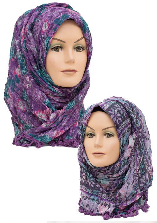 purple crinkle 2 in 1 hijab