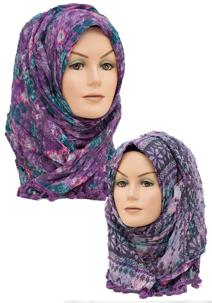 purple crinkle 2 in 1 hijab