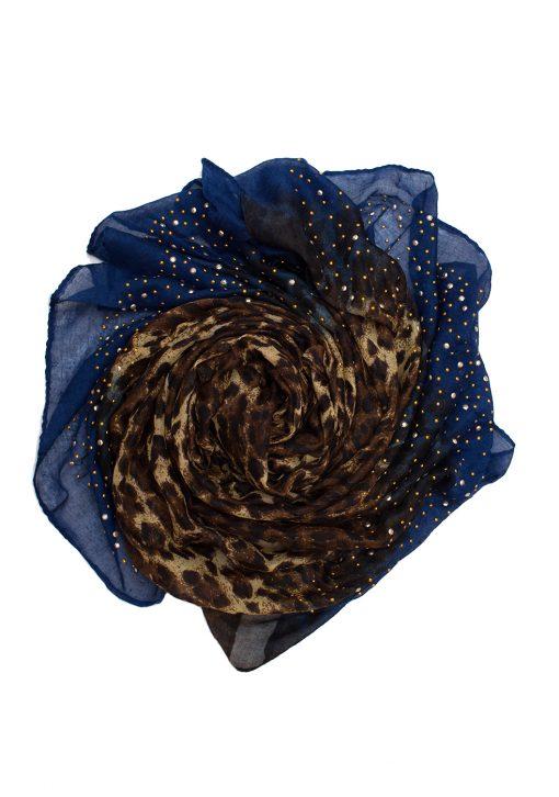 royal blue leopard print ombre hijab