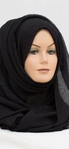 black crinkle hijab