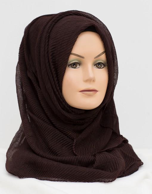 dark brown crinkle wavy hijab
