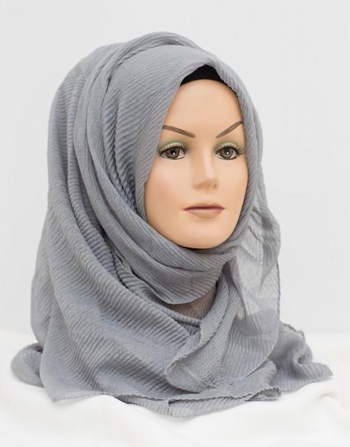 wavy textured light grey maxi hijab
