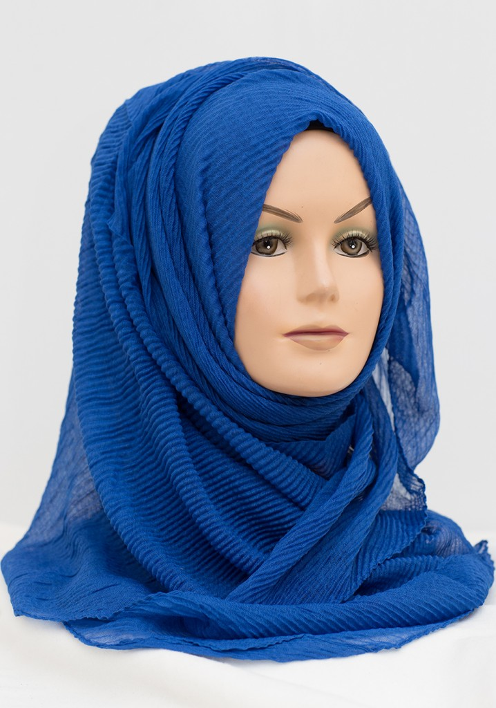 royal blue crinkle hijab