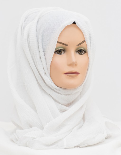 white crinkle textured hijab