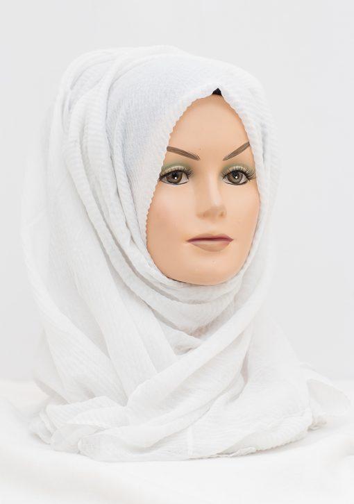 white crinkle textured hijab