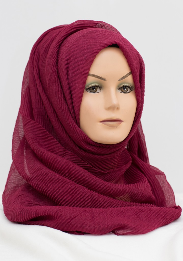 red wine colour crinkle hijab