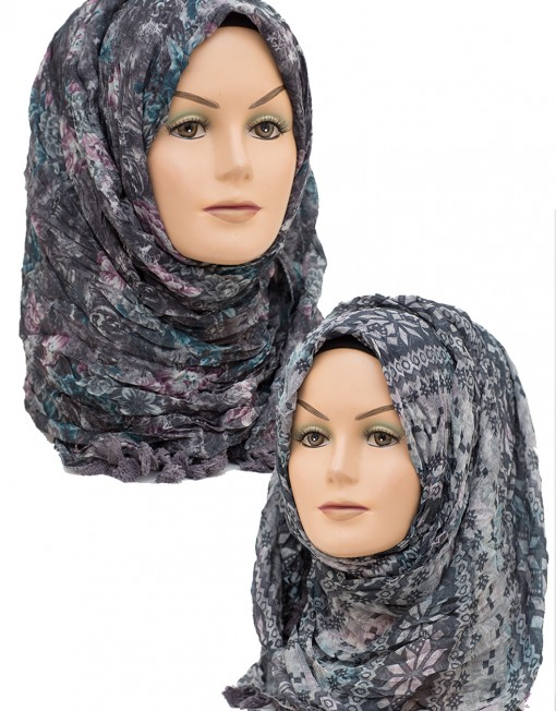 grey and black floral aztec printed hijab
