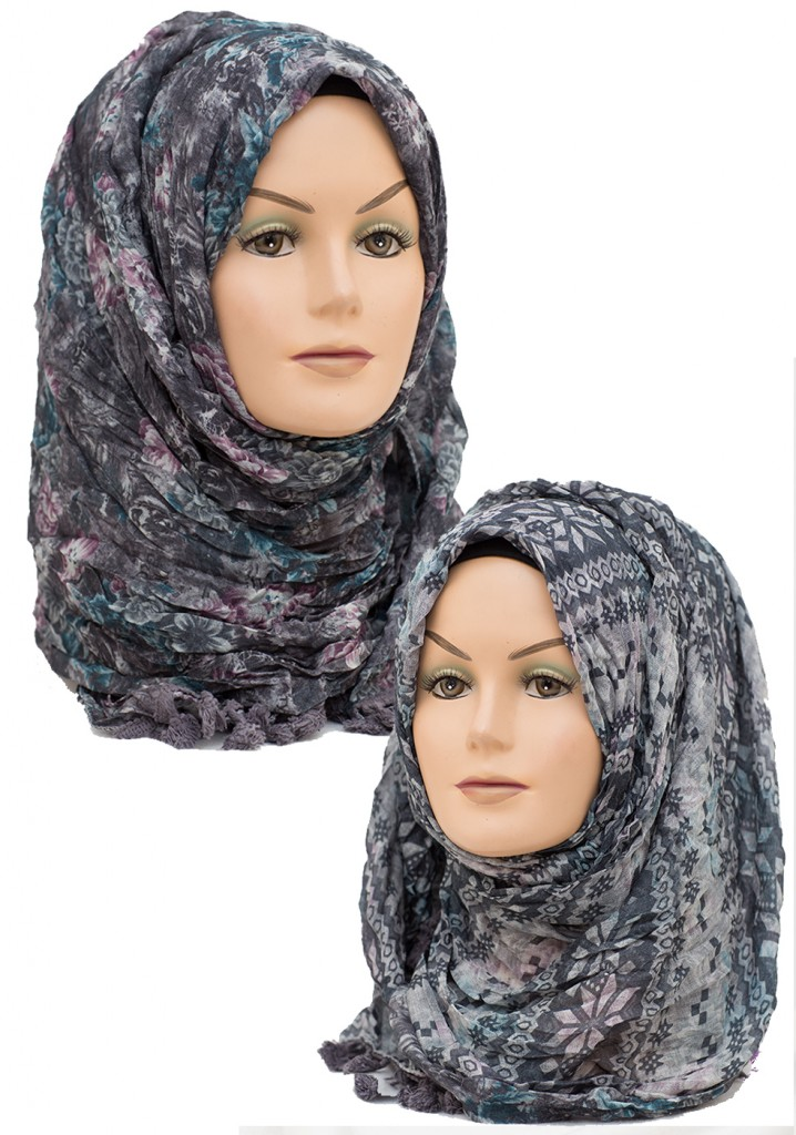 grey and black floral aztec printed hijab