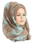 aqua and copper paisley print hijab
