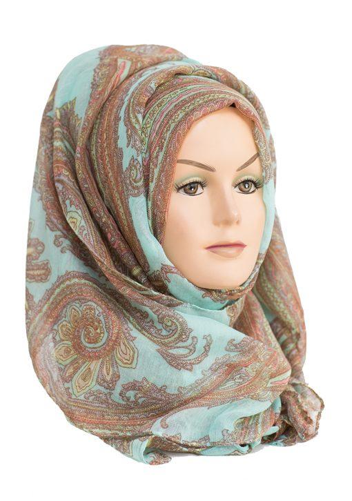 aqua and copper paisley print hijab
