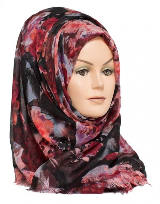 black floral hijab