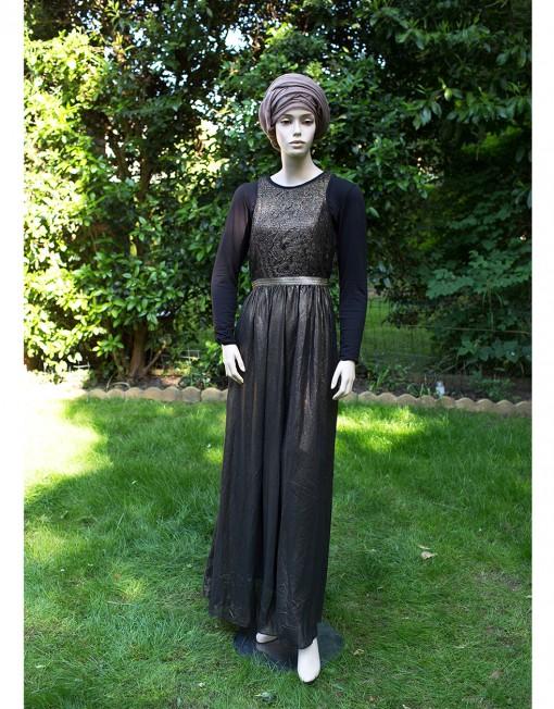 modest black evening dress