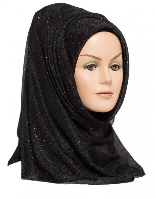 black shimmer hijab