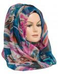 blue and pink printed hijab