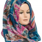 blue and pink printed hijab